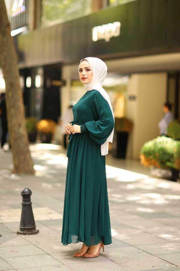 Eliza Moda Balon Kol Tesettür Abiye Elbise Modelleri