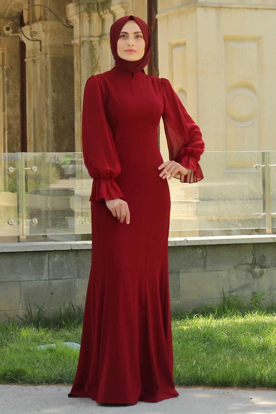 Feiza Collection Balon Kol Tesettür Kırmızı Abiye Elbise Modelleri