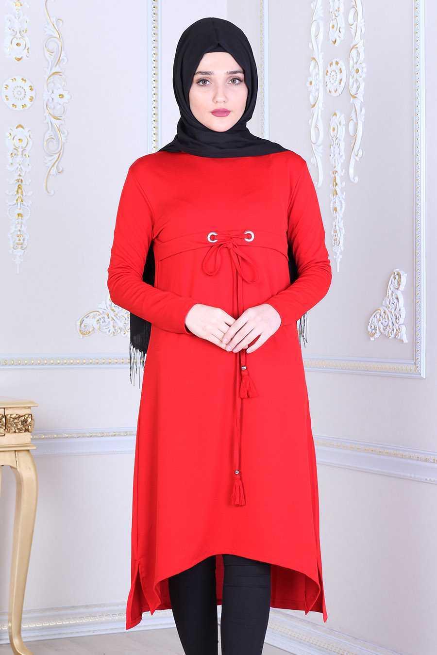 Feiza Collection Tesettür Kırmızı Tunik Modelleri