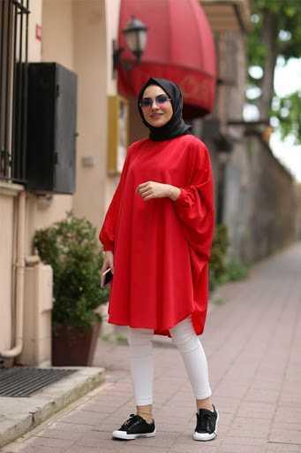 Harem İstanbul Tesettür Kırmızı Spor Tunik Modelleri