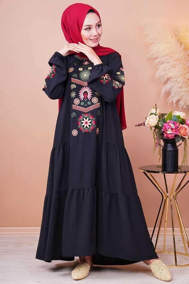 Hatun Tesettür Nakışlı Elbise Modelleri