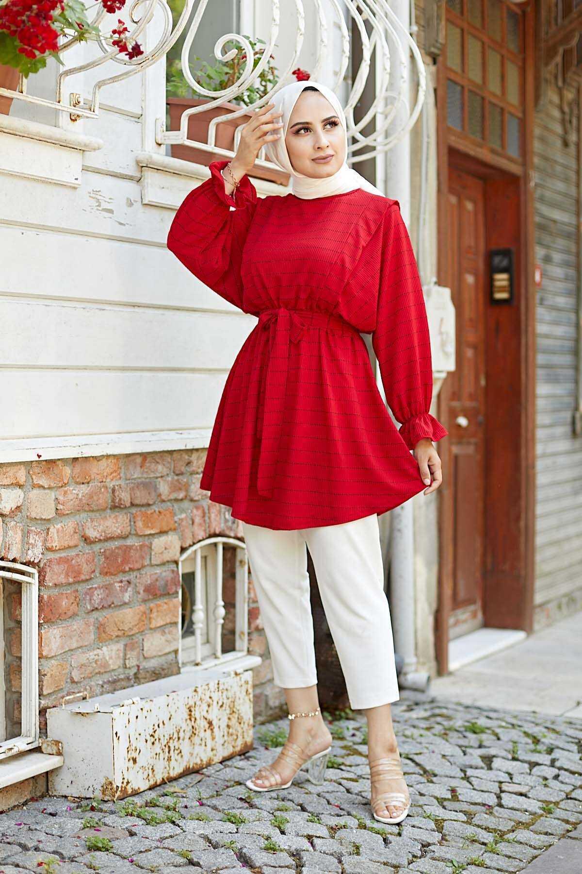 Hf Moda Tesettür Çizgili Kırmızı Tunik Modelleri