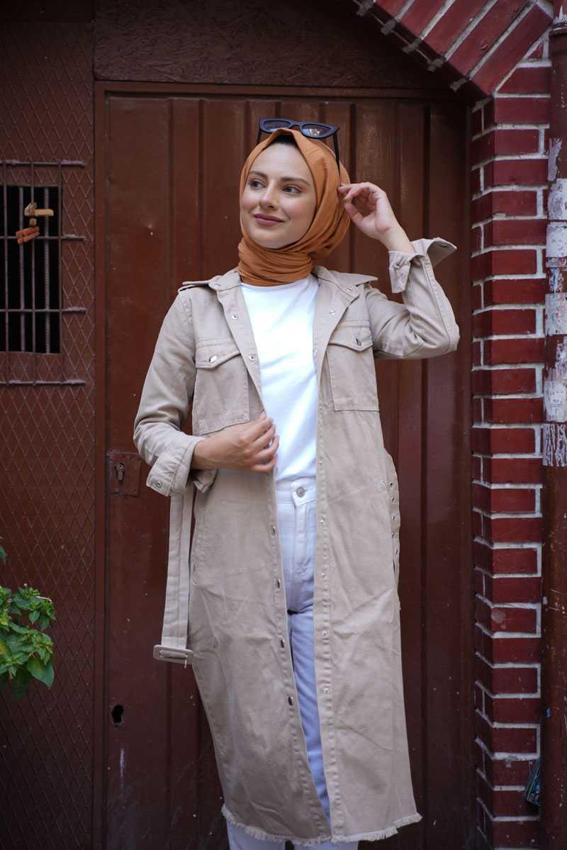Kamil Keskin Tesettür Kemerli Kot Ceket Modelleri