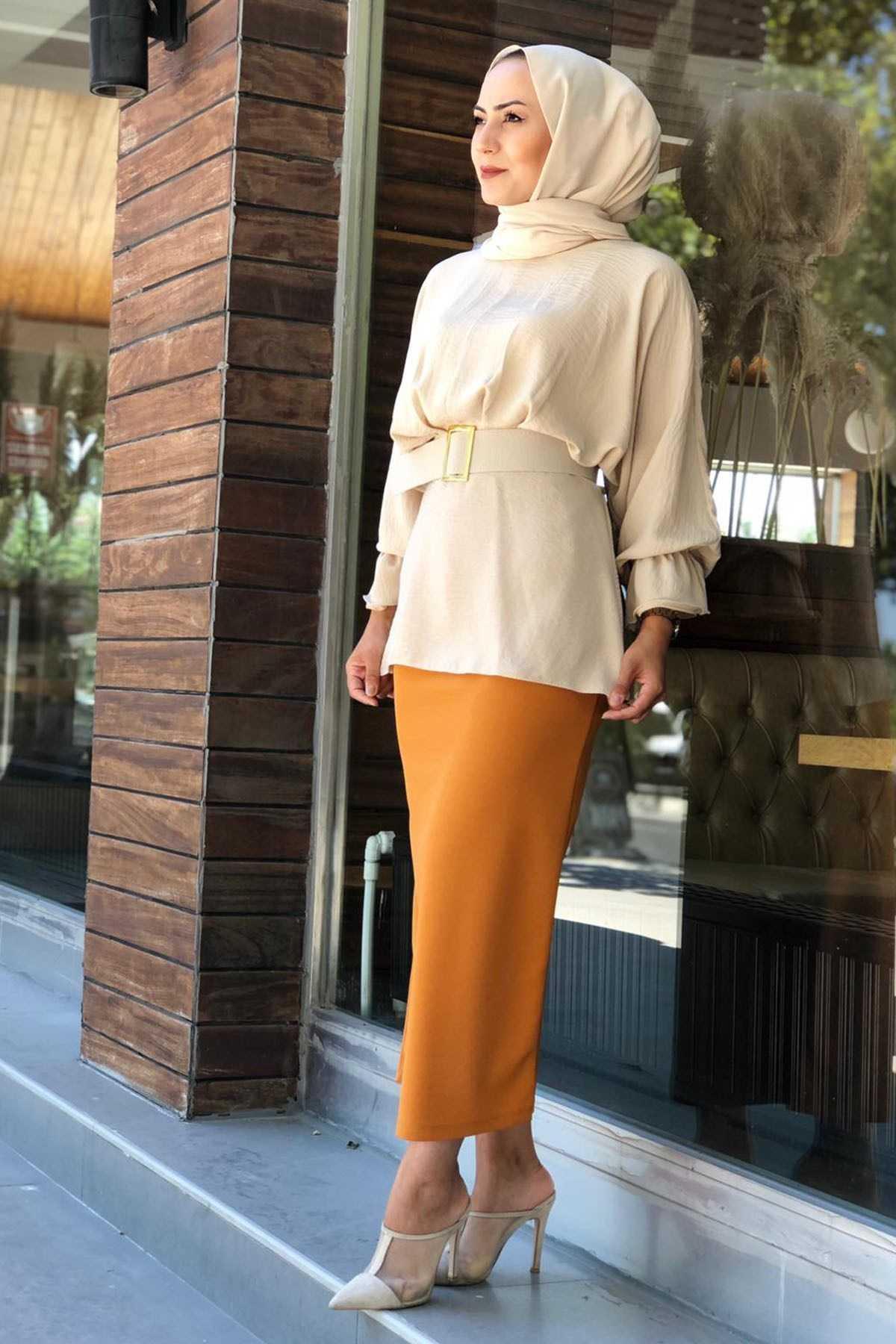 Moda Ensar Butik Tesettür Kemerli Şık Bluz Modelleri