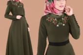 Nakışlı Tesettür Elbise Modelleri