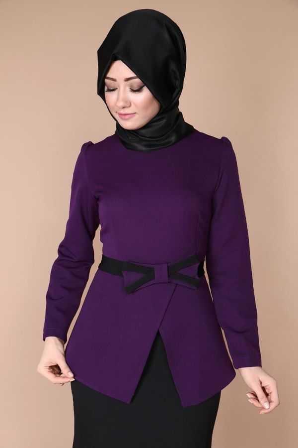 Moda Selvim Tesettür Kemerli Şok Bluz Modelleri