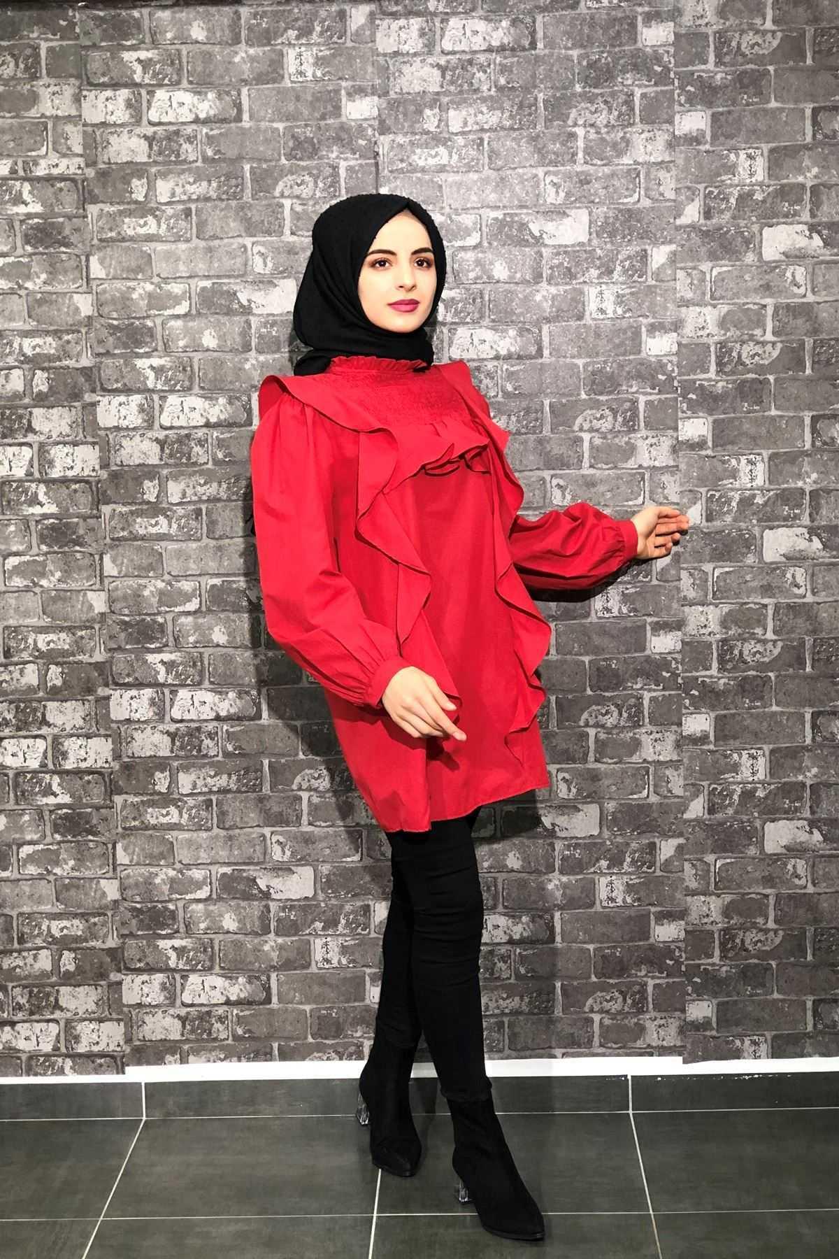 ModaOnur Tesettür Kırmızı Tunik Modelleri
