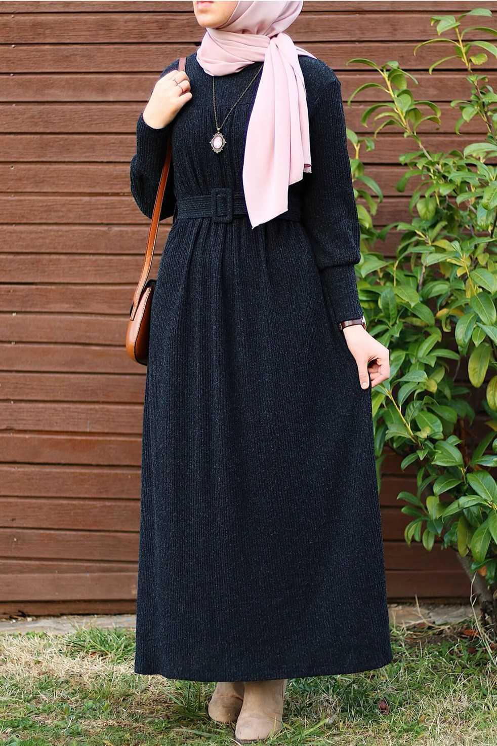 Modasima Sonbahar Kış Desenli Tesettür Elbise Modelleri