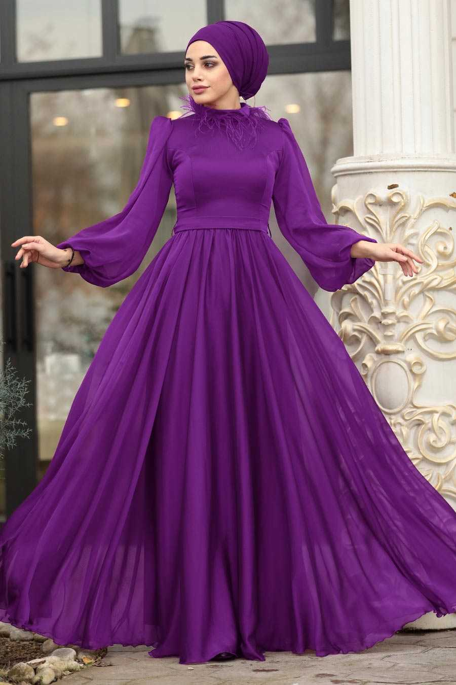 Neva Style Balon Kol Tesettür Abiye Elbise Modelleri