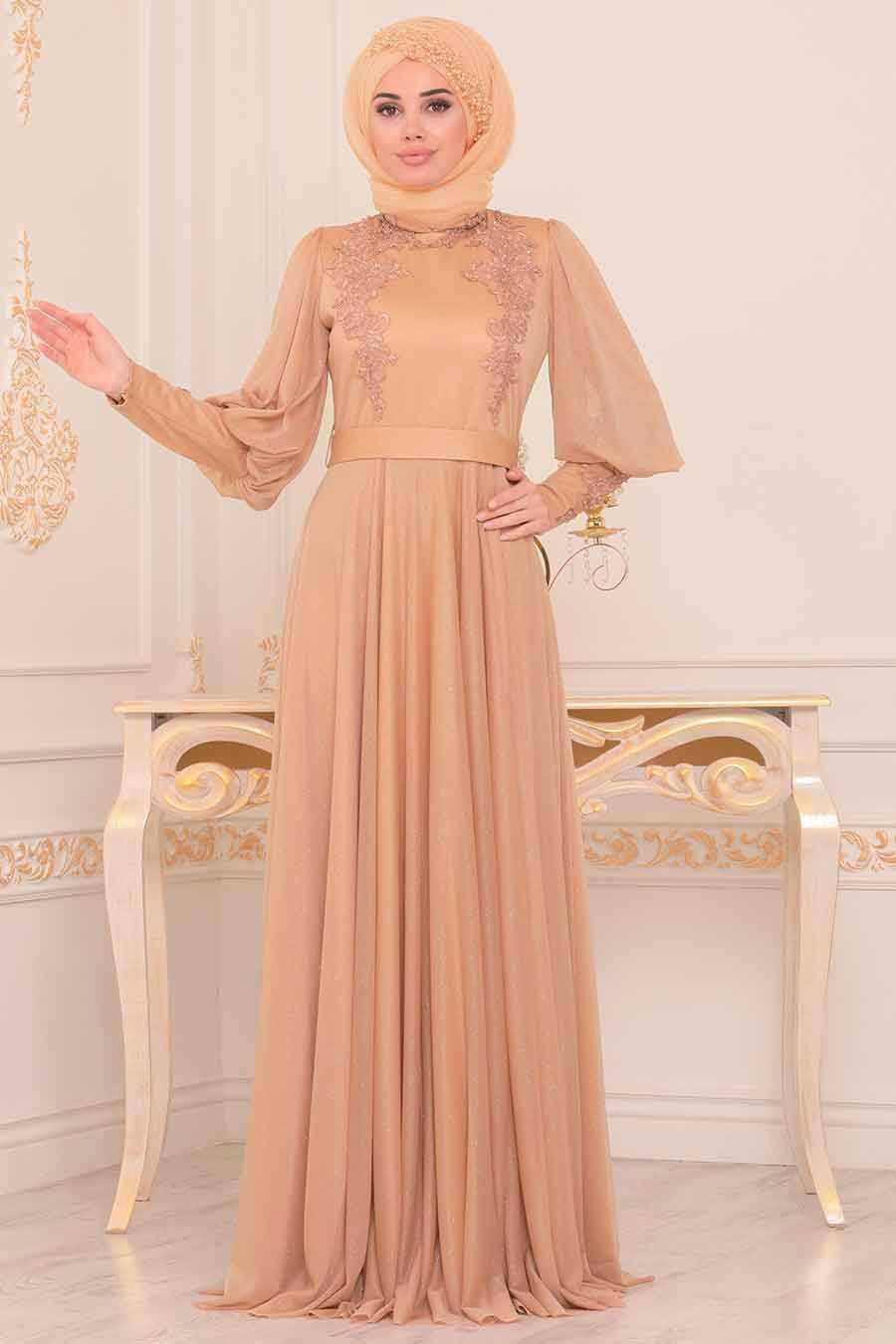 Neva Style Balon Kol Tesettür Gold Abiye Elbise Modelleri