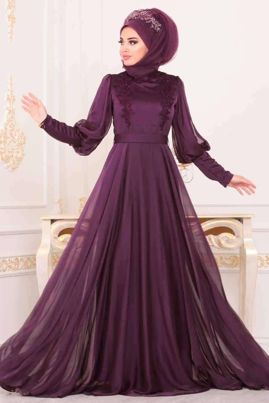 Neva Style Balon Kol Tesettür Mürdüm Abiye Elbise Modelleri