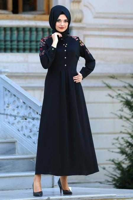Neva Style Nakışlı Tesettür Elbise Modelleri