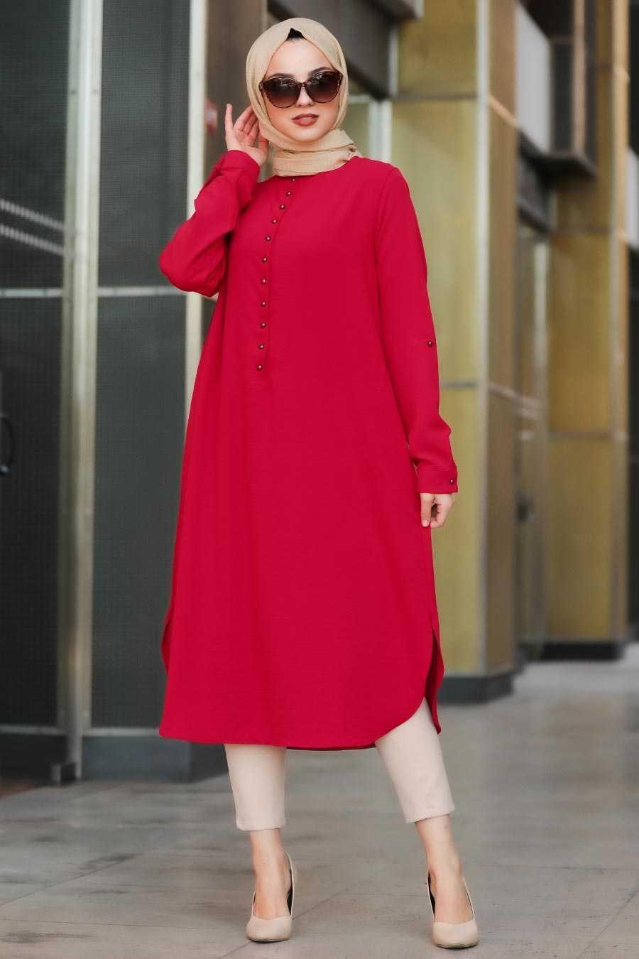Neva Style Tesettür Düğmeli Kırmızı Tunik Modelleri