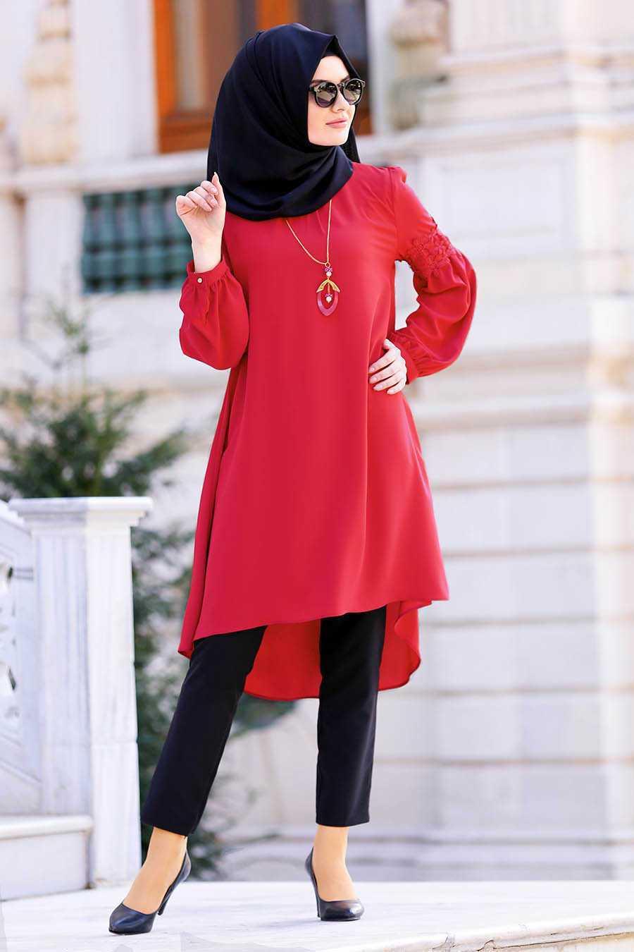 Neva Style Tesettür Kırmızı Tunik Modelleri