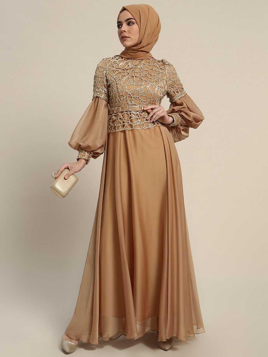 Refka Balon Kol Tesettür Gold Abiye Elbise Modelleri