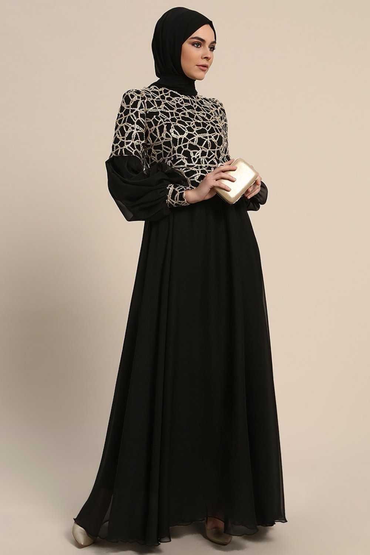 Refka Şifon Detaylı Balon Kol Tesettür Abiye Elbise Modelleri