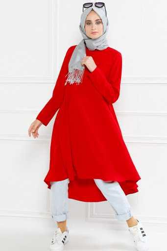 Refka Tesettür Kırmızı Tunik Modelleri
