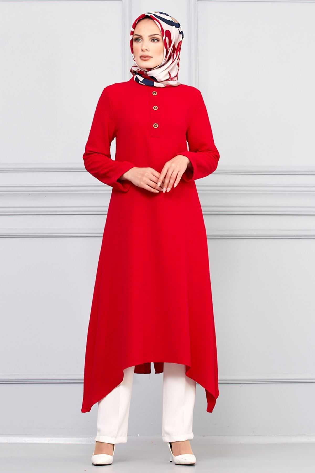 Sedanur Tesettür Kırmızı Tunik Modelleri