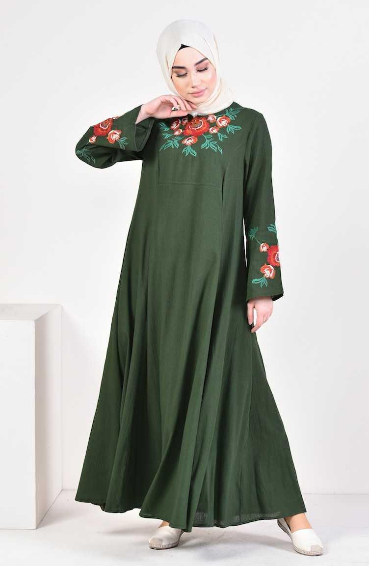Sefamerve Nakışlı Tesettür Haki Elbise Modelleri