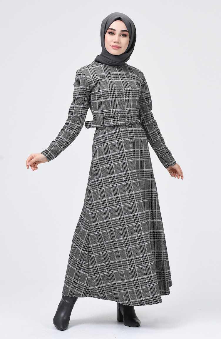 Sefamerve Sonbahar Kış Ekose Desenli Tesettür Elbise Modelleri