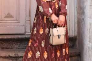 Sonbahar Kış Desenli Tesettür Elbise