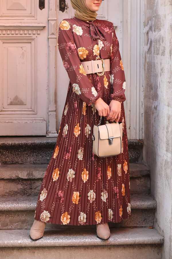 Sonbahar Kış Desenli Tesettür Elbise Modelleri