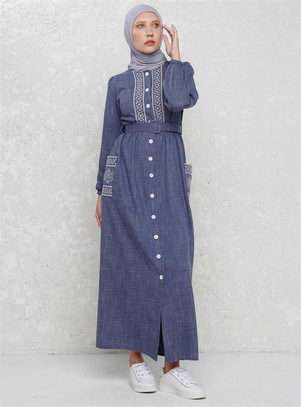 Suem Nakışlı Tesettür Cepli Elbise Modelleri