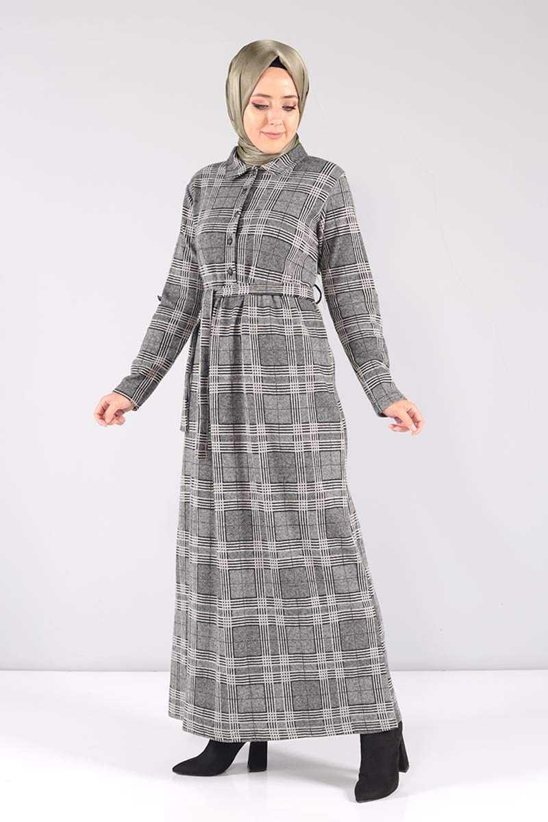 Tesettür Dünyası Sonbahar Kış Desenli Elbise Modelleri