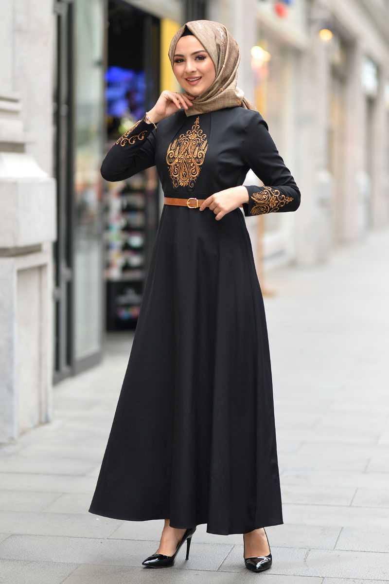 Tesettür Dünyası Sonbahar Kış Nakış Desenli Elbise Modelleri