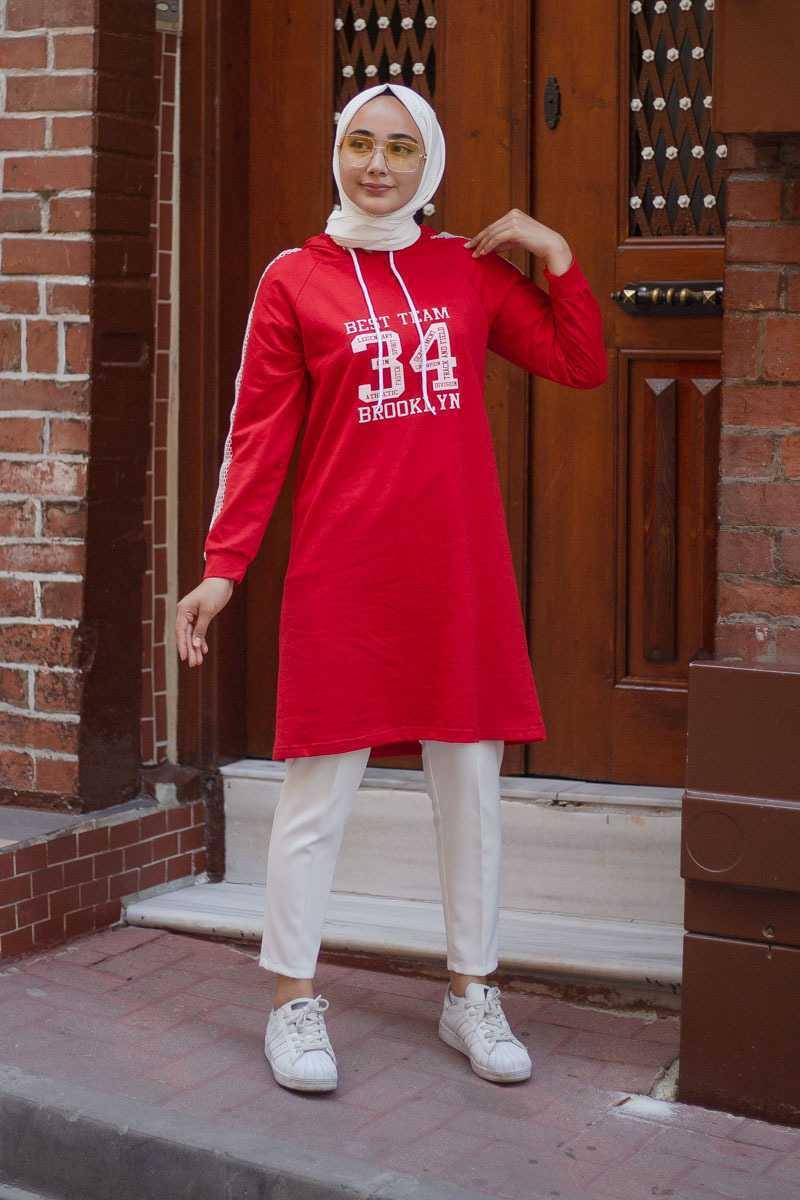 Tesettür Pazarı Kırmızı Tunik Modelleri