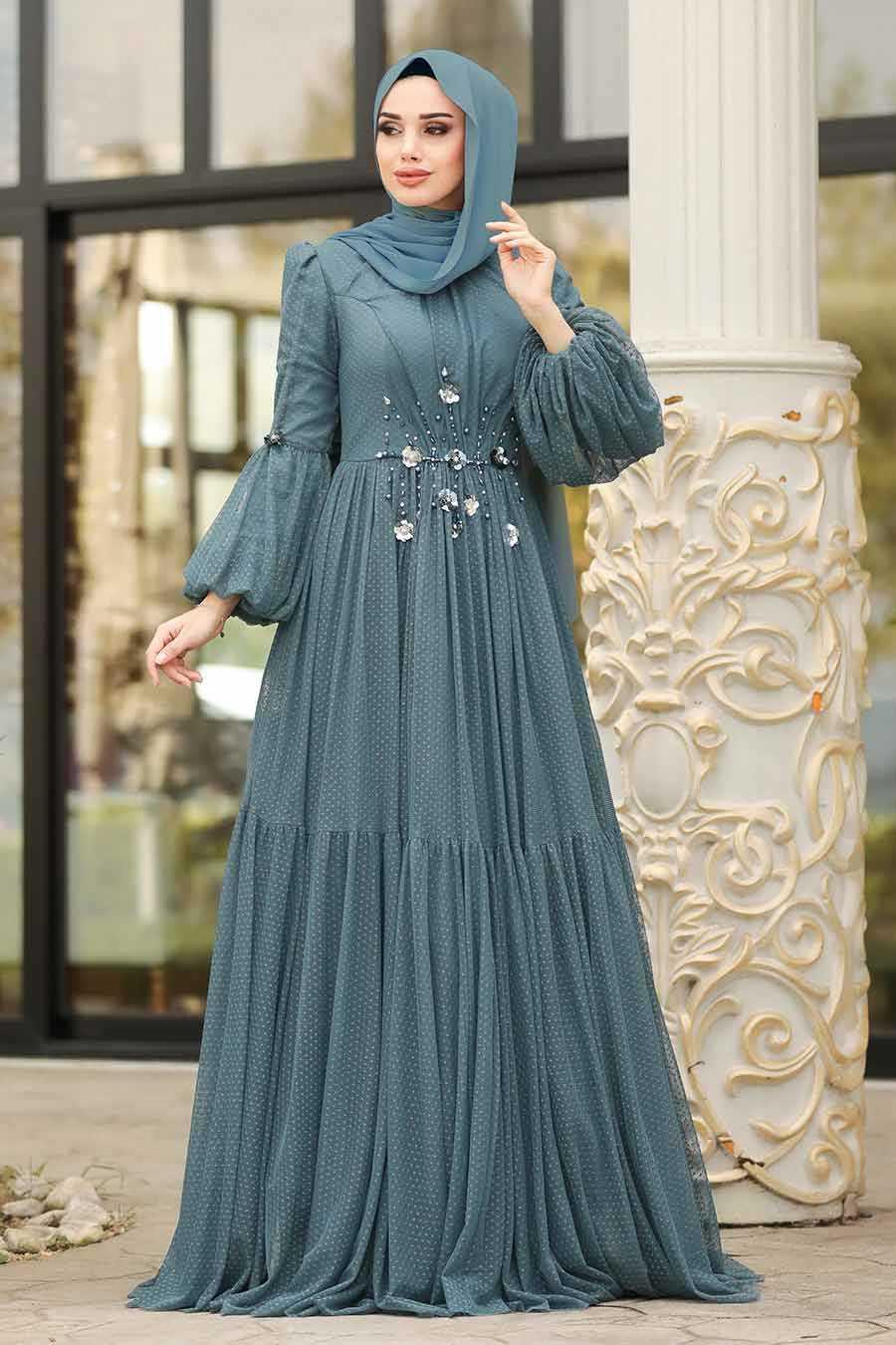 Tesettürlü Abiye Elbiseler Balon Kol Modelleri
