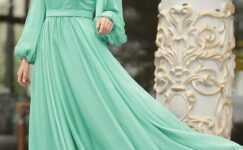 Balon Kol Tesettür Abiye Elbise