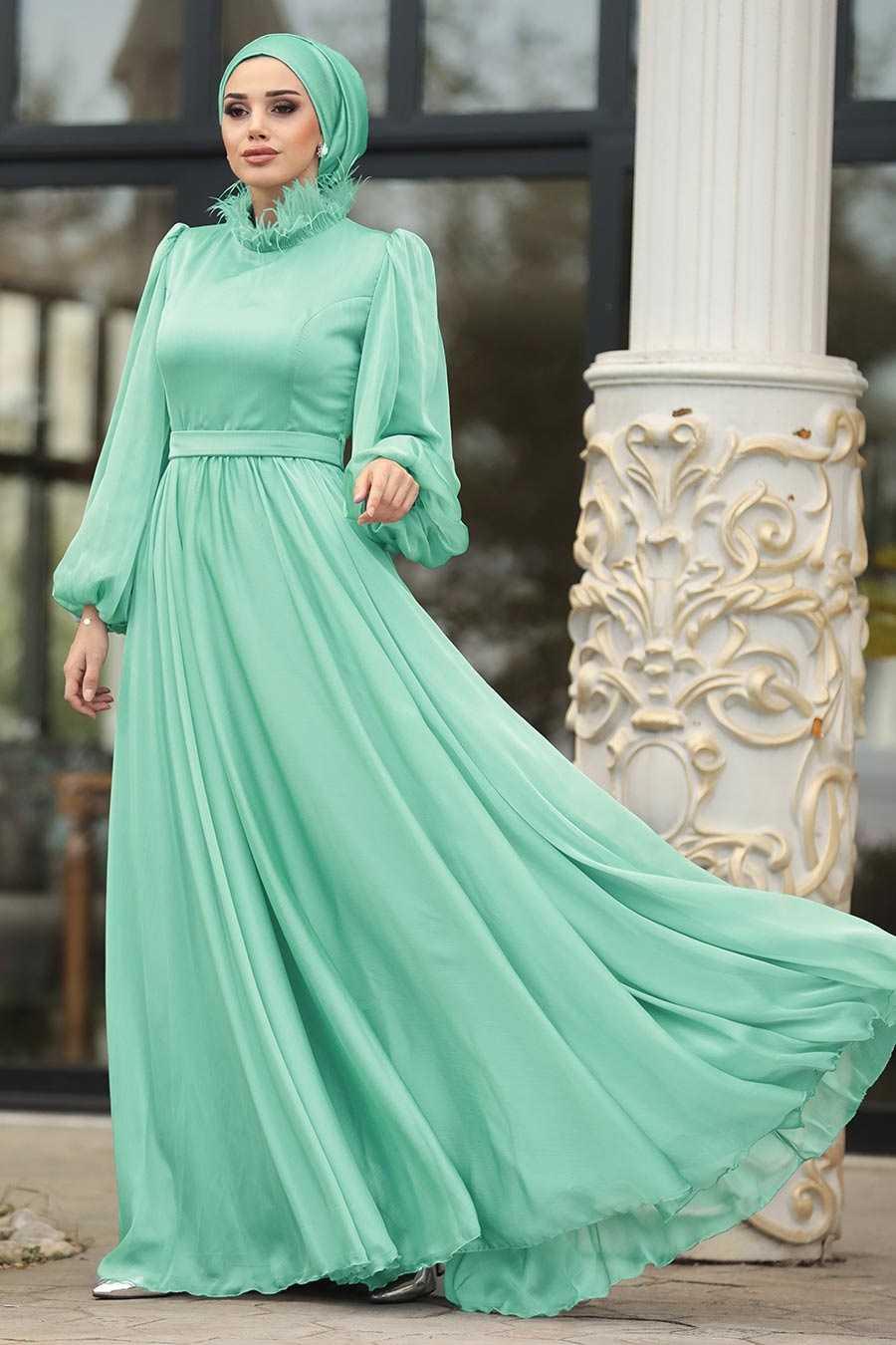 Tesettürlü Abiye Elbiseler Turkuaz Balon Kol Modelleri