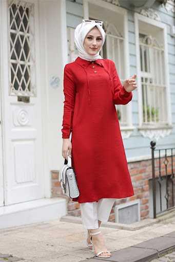 Tofisa Tesettür Kırmızı Tunik Modelleri