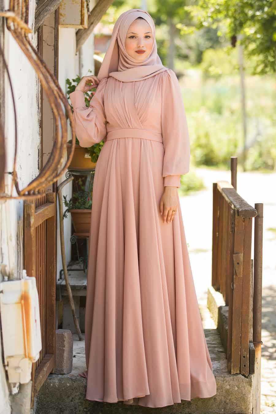 Tuay Balon Kol Tesettür Somon Abiye Elbise Modelleri
