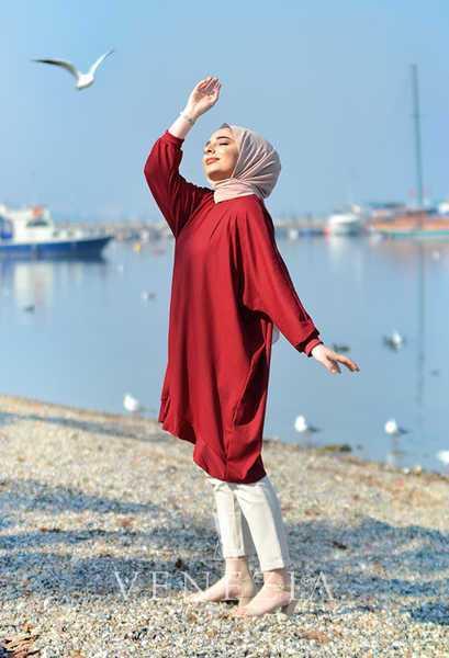 Venezia Wear Tesettür Kırmızı Tunik Modelleri