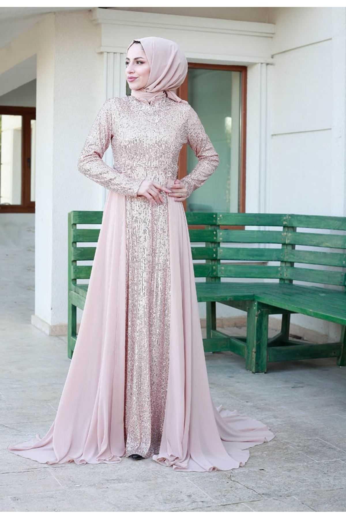 Zara Tesettür Taşlı Abiye Elbise Modelleri