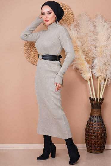 Algı Tesettür Fitilli Triko Elbise Modelleri
