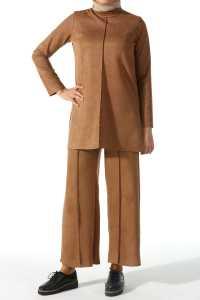 Allday Tesettür Pantolonlu Süet Takım Modelleri