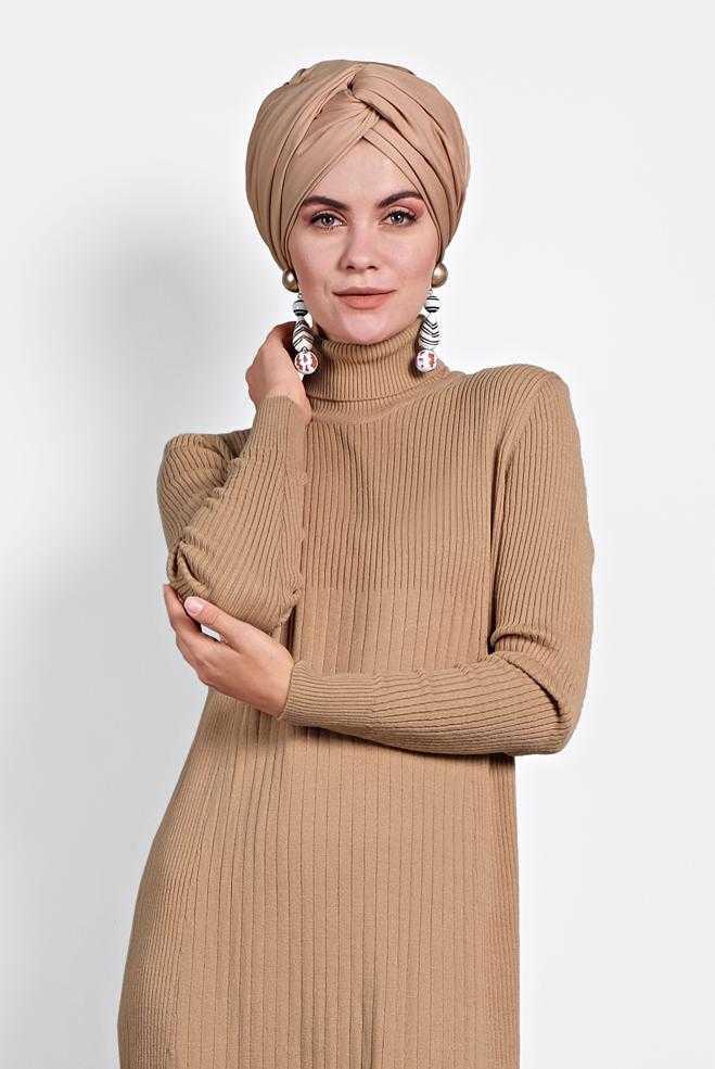Alvina Tesettür Fitilli Triko Elbise Modelleri