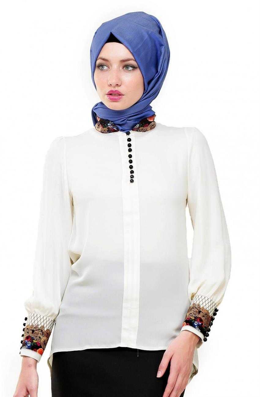 Belle Belemir Tesettür Düğmeli Şifon Bluz Modelleri