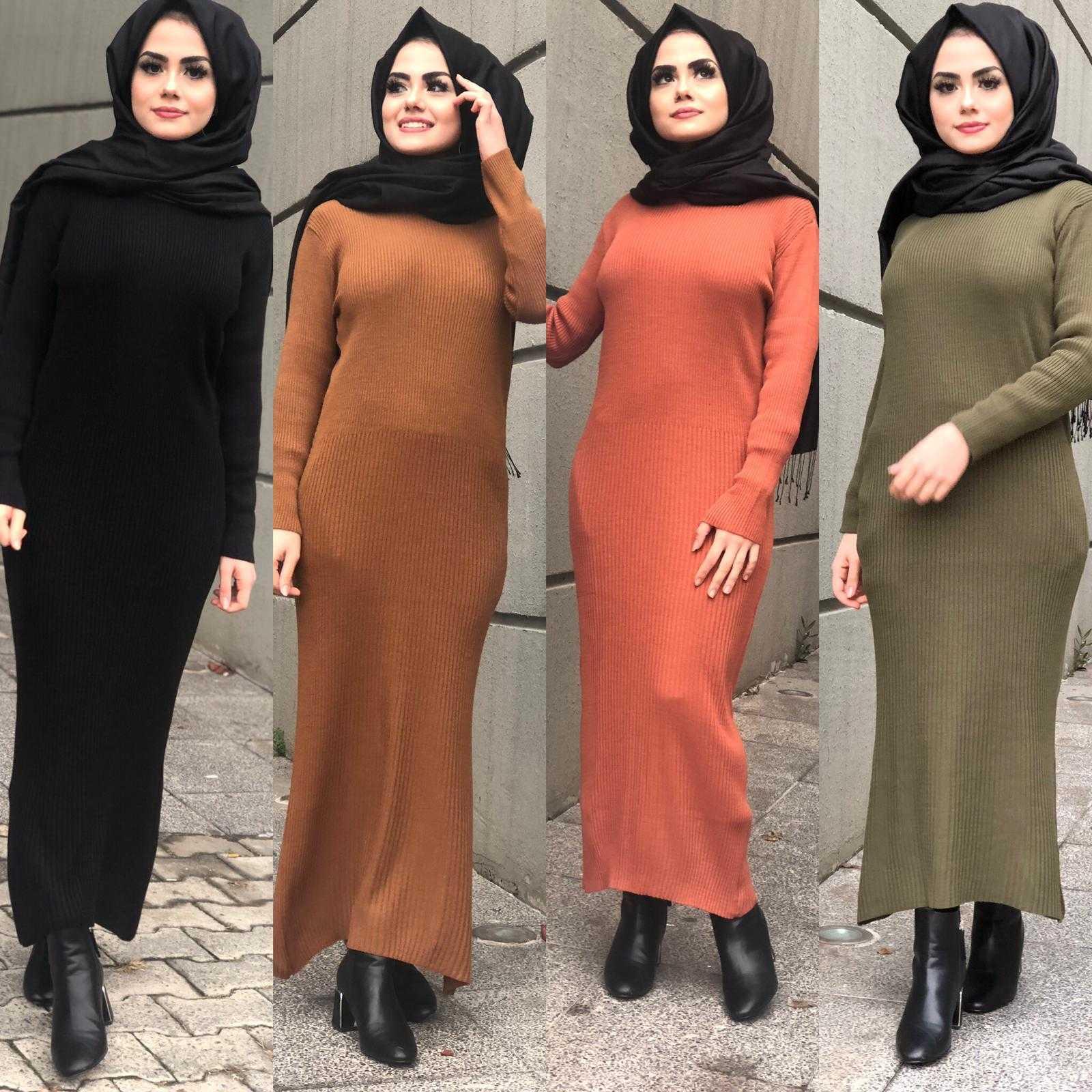 Elifce Butik Tesettür Fitilli Triko Elbise Modelleri