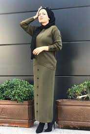Ermi Tekstil Düğmeli Tesettür Etekli Takım Modelleri