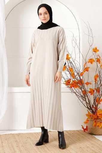 İnşirah Tesettür Fitilli Triko Elbise Modelleri
