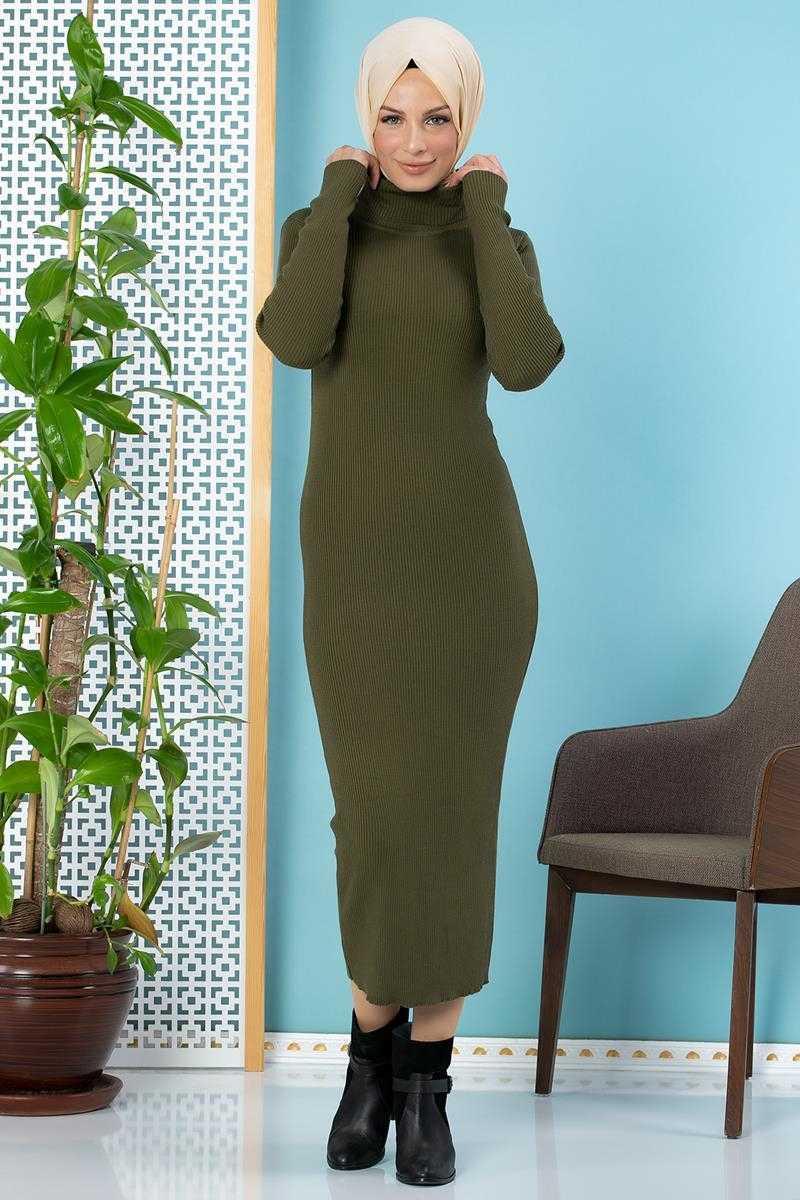 Moda Ebva Tesettür Fitilli Triko Elbise