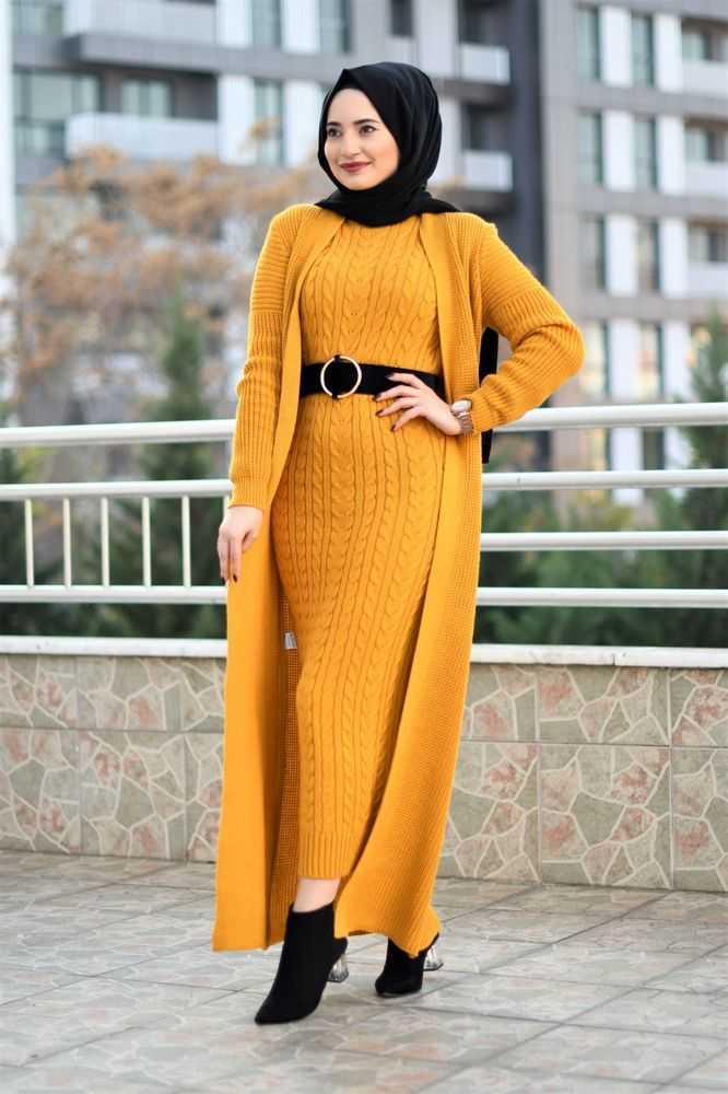 Modam Afra Tesettür İkili Triko Takım Modelleri