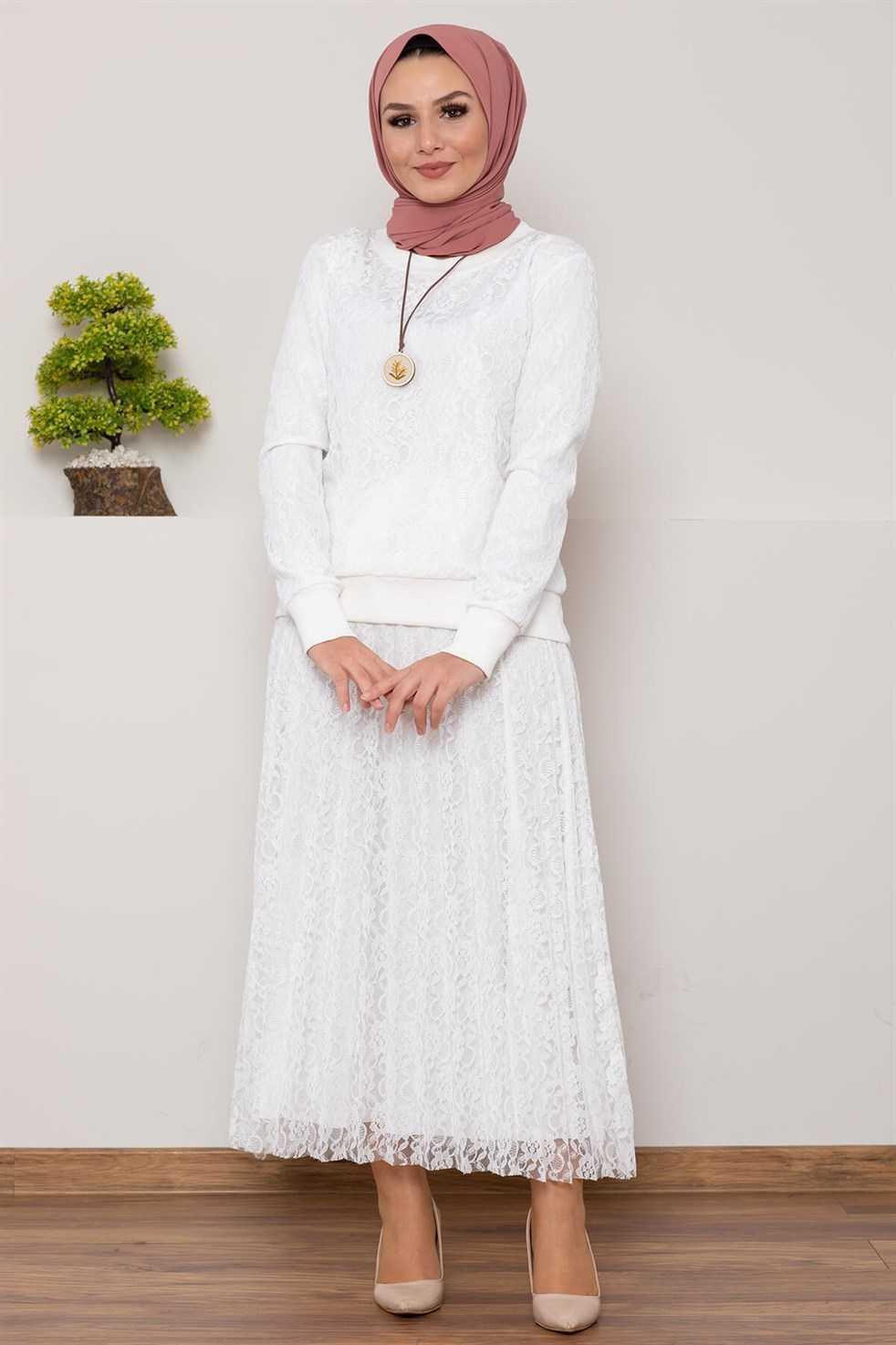Modasima Dantelli Tesettür Beyaz Takım Modelleri