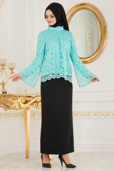 Nayla Collection Dantelli Volan Kol Tesettür İkili Takım Modelleri
