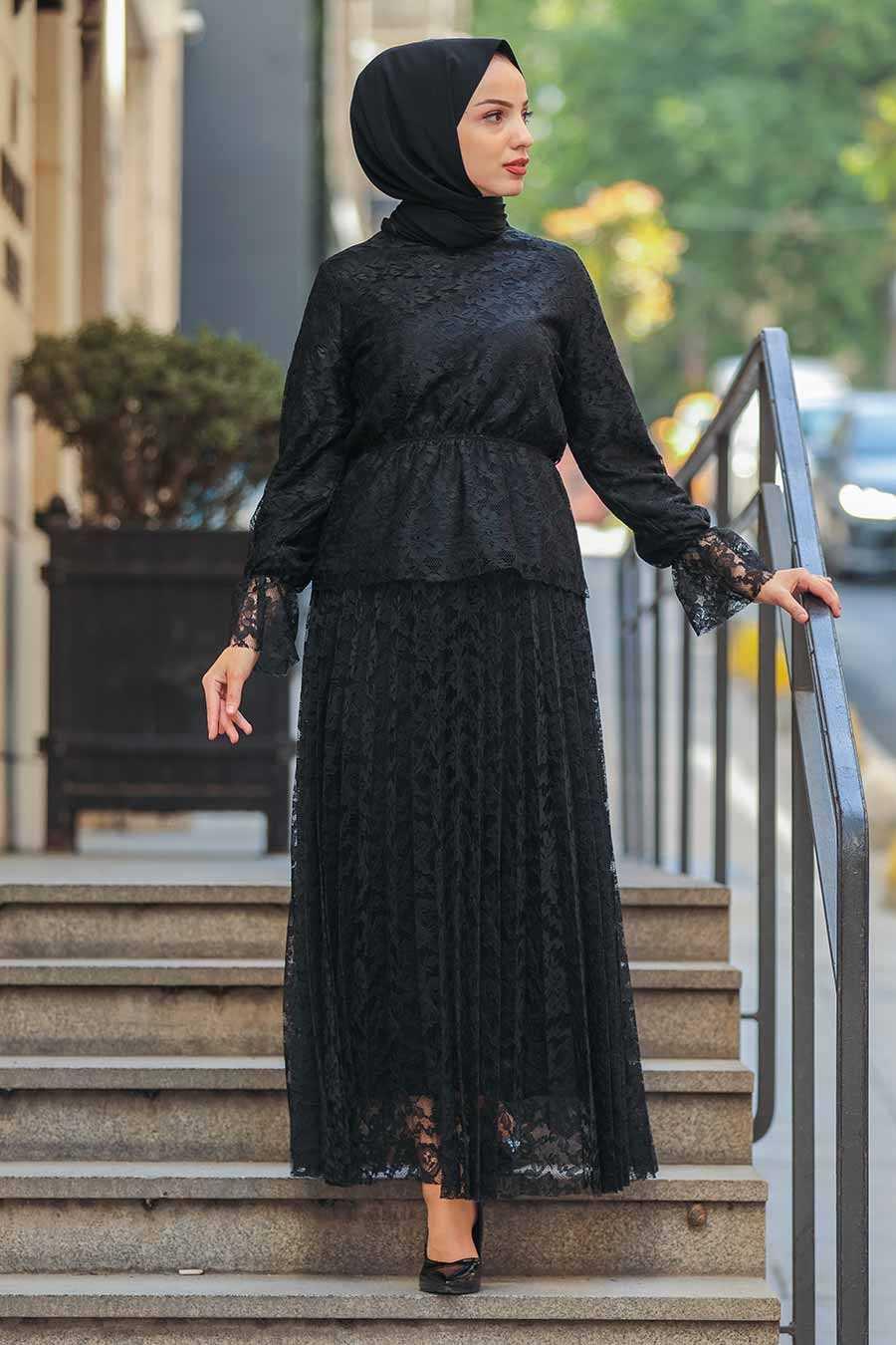 Neva Style Dantelli Tesettür Siyah Takım Modelleri