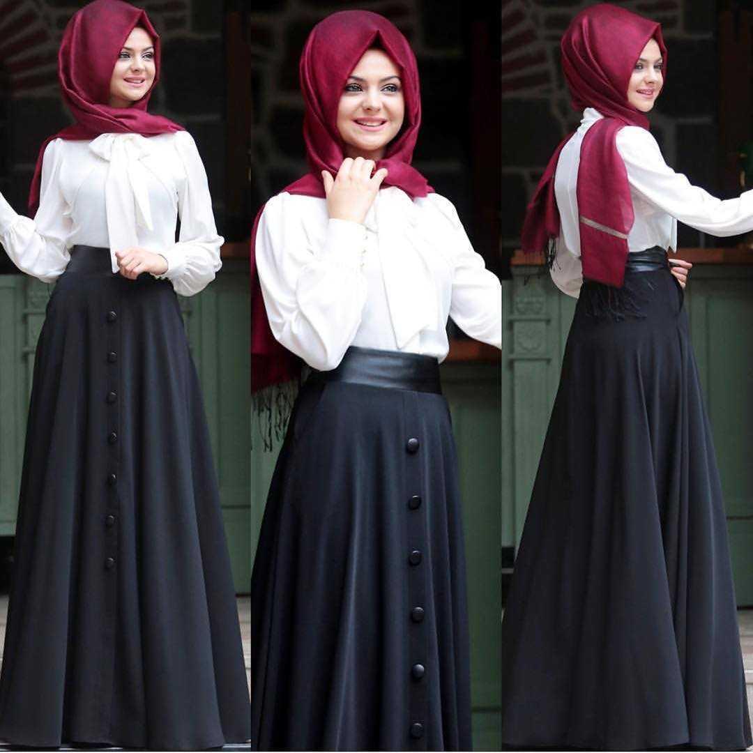 Pınar Şems Düğmeli Tesettür Etek Modelleri